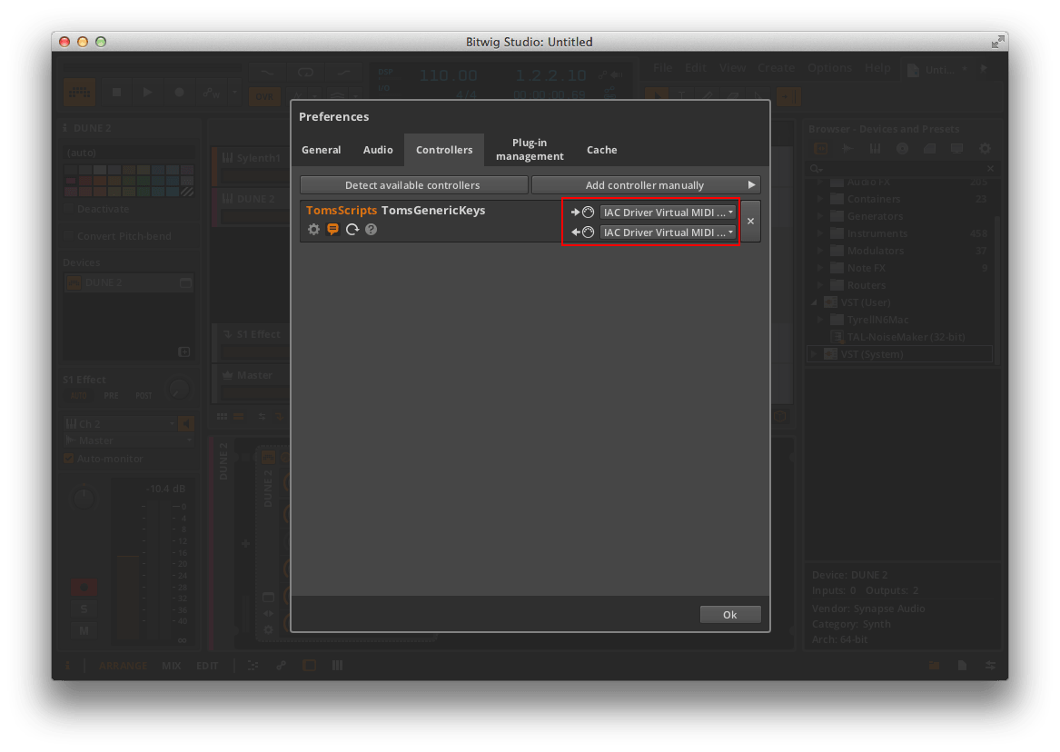 Bitwig Settings